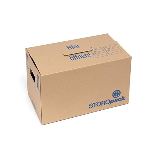 Storopack 10 Umzugskartons, 74 Liter, 2-wellig, sehr stabil, doppelter Boden, 600x350x350mm