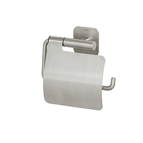 Tiger Colar Toilettenpapierhalter, Edelstahl gebürstet, mit integrierter Klebefolie zur Montage ohne bohren