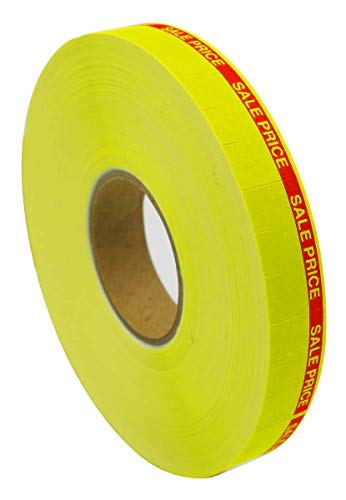 Amram Price Marking Labels 1 Line, Yellow/Red Sale Price, 1 Sleeve of 17,000 Labels (16 Rolls, 1,063 Labels Per Roll), Includes 1 Replacement Ink Roller, Compatible w/Monarch 1110