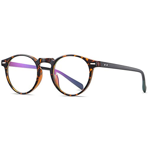 Gafas De Sol,Gafas Anti-Blu-Ray Para Hombres Y Mujeres Con Espejo Plano Retro, Marco Redondo, Espejo De Computadora Que Se Puede Equipar Con Miopía, Carey C86