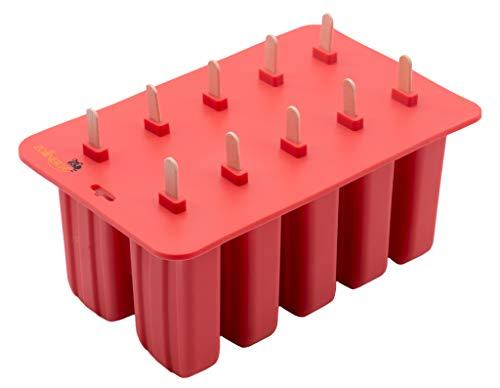 ZOLLNER24 10 Eisformen aus Silikon mit Holzstielen, BPA frei, spülmaschinenfest