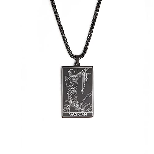 TEAMER Tarot Cards Necklace Stainless Steel Jewelry Celtic Astrology Divination Magic Amulet Necklace Major Arcana Pendant Necklaces (Black, THE MAGICIAN 2)