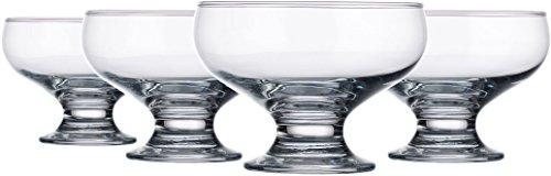 Palais Glassware Clear Glass 8 Ounce Dessert Ice Cream Bowls (Set of 4 Classic Bowls)