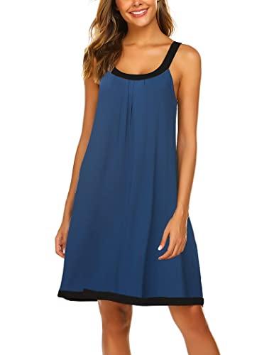 Ekouaer Soft Cotton Nightgowns Sleeveless Women's Shoulder Strap Mini Sleepwear Casual Dress (Navy,Large)