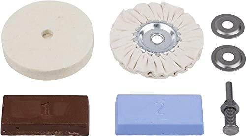 Oferta de Wolfcraft 2178000 - Juego hobby de pulido para metales, plástico, marmol etc. contenido: pasta de pulido, mandril de sujeción, disco de fieltro, disco de algodon