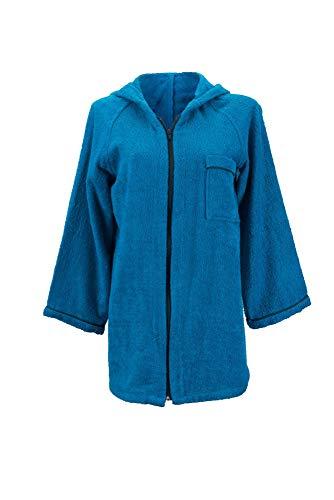 Lady Bella Lingerie Damen Sehr saugfähig,100% reine Baumwolle,kurze Robe mit Reißverschluss vorne und Kapuze für Fitnessstudios,Pools,Spas,Saunen,Strand,Hotel,Reisen X Groß Blautte