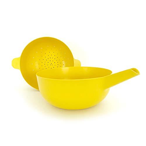 EKOBO Bamboo Large Multi-purpose Bowl & Colander Set, BIOBU Eco-material, Lemon (Yellow)