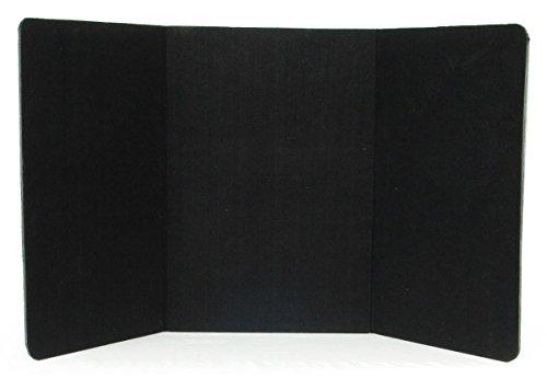 3-Panel Tabletop Display Presentation Board, 72 x 36, No Plastic Edging - Black Hook & Loop-Receptive Fabric