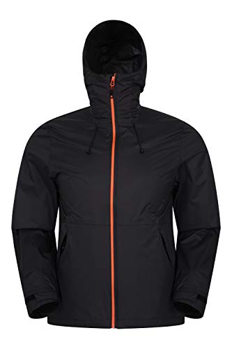 Mountain Warehouse Swerve Mens Waterproof Windbreaker - Rip Stop Fabric, Packs Away Jacket - Best for Wet Weather, Walking, Outdoors & Camping Negro L