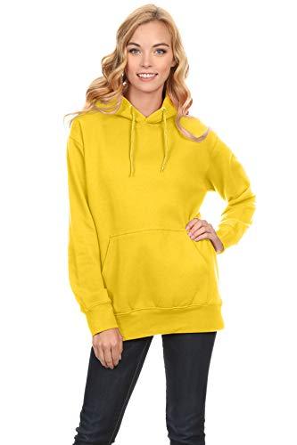 Simlu Fleece Pullover Hoodies Oversized Sweater Reg and Plus Size Sweatshirts,Yellow,M
