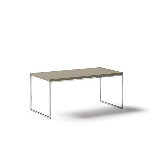 KND Design Mesa de Centro Rectangular Moderna, Acabado en Visón y Metal Cromado, Mesa de Salón con Medidas: 90 cm (Largo) x 45 cm (Ancho) x 40 cm (Alto)