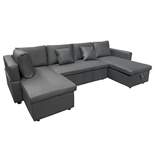 Canapé d'angle 4 places Gris Cuir Design Confort