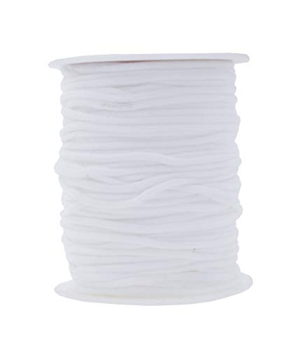 Elastic String for Masks 1/8 Inch Elastic Cord for Mask Ear Loops; 3mm 50 Yards White Round Elastic Band by Mandala Crafts