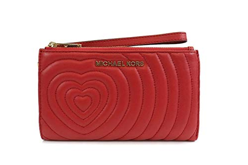 Double Pocket Clutch Wristlet w/ Phone Pocket Scarlet quilted smooth leather w/Valentine's Day heart Hardware: Gold Tone Stitching: Scarlet
