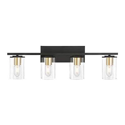 HUESLITE Bathroom Vanity Light,4-Light Industrial Wall Sconce Lighting with Clear Glass Shade for Bathroom(Black+Gold,4-Light)