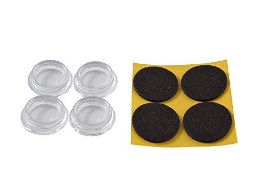 GleitGut Möbeluntersetzer Gleitschale rund mit Filz schwarz 4 Stück Möbelschutz durchsichtig (60 mm)