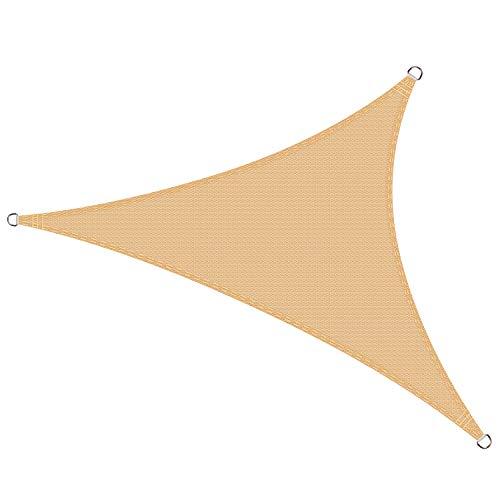 Cool Area Tenda a Vela Triangolare 3 x 3 x 3 Metri Protezione Raggi UV, Vela Ombreggiante Resistente e Traspirante per Giardino Balcone Terrazza, Sabbia