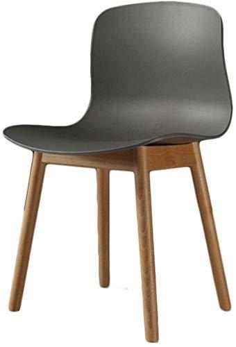 NYDZ Silla de cena moderna acolchada con patas de madera maciza, cómodo asiento acolchado de poliuretano, colores bien mezclados y diseño retro atemporal. gris