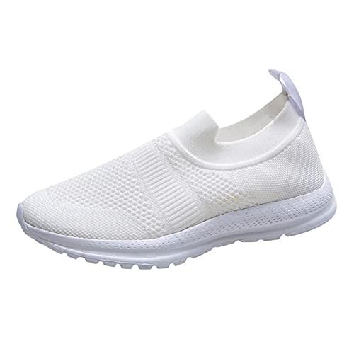 Beudylihy Zapatillas deportivas para mujer, ligeras, para caminar, tiempo libre, talla, Blanco, 39.5 EU