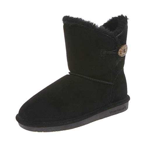 BEARPAW Women's Rosie Winter Boot, Black, 8 M US