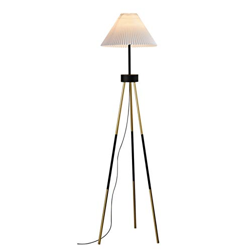 Stehlampe Stehleuchte, minimalistisches amerikanisches Plissee-Tuch-Stativ auf dem Sofa im Wohnzimmer, Netto-rote Schlafzimmer Nachttisch-Tischlampe Energieniveau der Augenschutz-Leselampe 【A ++】