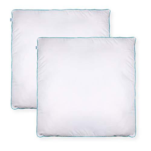 Sleeb Cojín de relleno de 80 x 80 cm, 2 unidades, con cremallera, lavable, color blanco