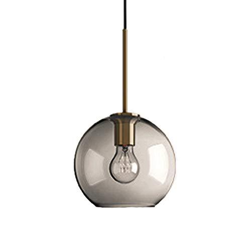 MZStech 1-Light Sphärische Pendelleuchte aus Grau Glas, Globus Glaslampe Kronleuchter Hängeleuchte (20cm, Grau)