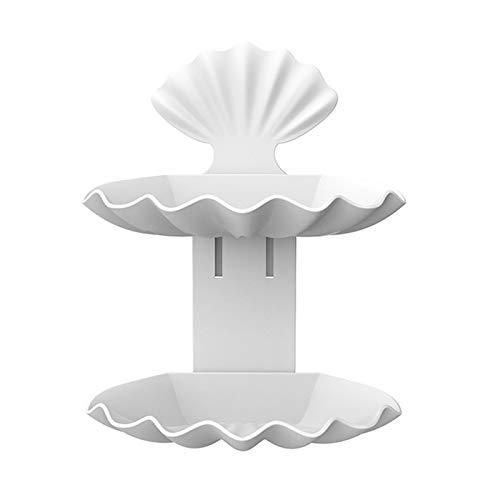 yuery Soporte de pared para baño de ducha, jabonera, plato con bandeja de almacenamiento de doble drenaje, soporte para jabón, organizador de recipientes de color blanco