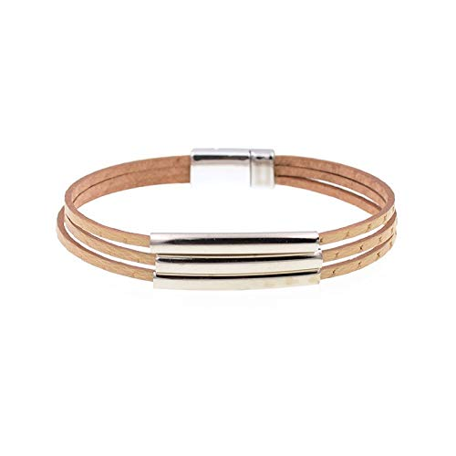Guozhijun Leren armbanden voor dames, wit, koperen buis, modesieraad