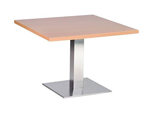 Netfurniture Daniella salontafel - RVS onderstel 70cm vierkante beuken top
