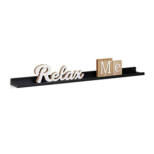 Relaxdays Estante Flotante Estrecho, Madera, 10x80x3.5 cm, Negro