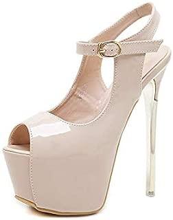 Women's Nightclub Sandals, Open Toe high Heels, high Heels, Non-Slip Sandals,Apricot,35