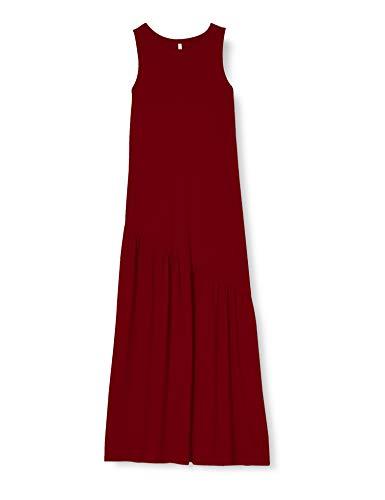 ONLY Damen ONLMAY Life S/L Maxi Volume Dress JRS Kleid, Pomegranate, M