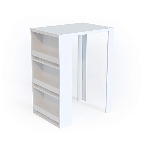 Vicco Bartisch Bar Tresen Bartresen Stehtisch Tisch Tresentisch Bistrotisch Küche mit 3 extra Fächern (Weiß)