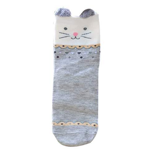 KaloryWee Damen Winter Plus Samt Socken 3D Stereo Katzenohren Hasenohren Tierische Stickerei Korallenvlies Strümpfe Mädchen schlafen Socken Strickstrümpfe