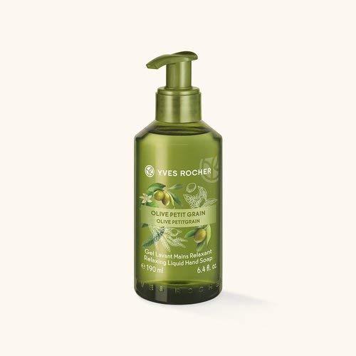 Yves Rocher LES PLAISIRS NATURE Flüssigseife für die Hände Olive-Petitgrain, pflegende Handseife, 1 x Dosierspender 190 ml