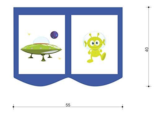 XXL Discount bedtas speeltas bed tas voor kinderbed afmetingen: 55 x 40 cm, 100% katoen opslag bedaccessoires stapelbed speelbed stoffen tas (blauw/wit, kamer)