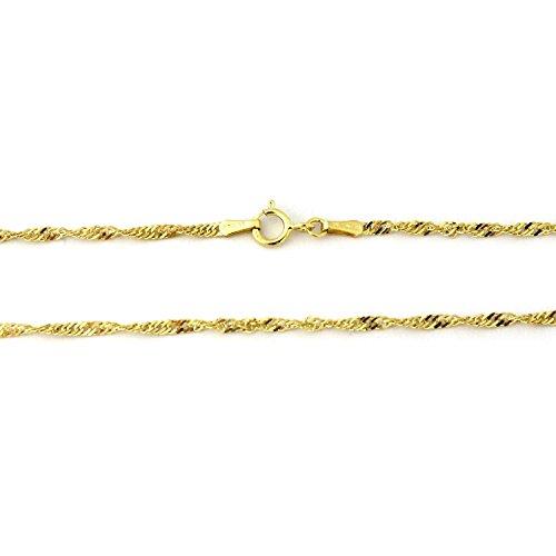14 Karat / 585 Gold Singapur Kette Gelbgold Halbmassiv Zweiseitig Diamantiert - Breite 3 mm - Länge wählbar (50)