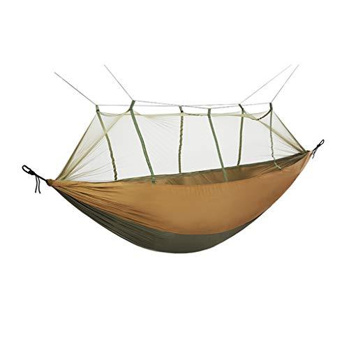 WFS Hamaca de viaje para camping, hamaca de viaje, portátil, fácil de montar, para jardín, jardín, patio, camping, suministros (color: marrón)