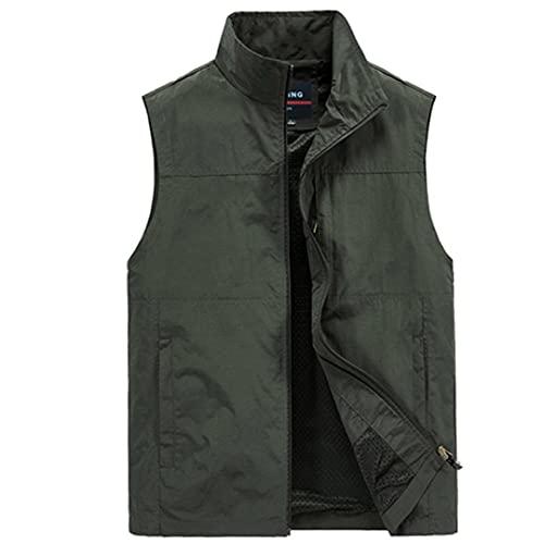 Gilet da uomo tattico con tessuto a mano cappotto estivo fotografo gilet gilet escursionismo gilet traspirante, Verde militare, XXXXXXX-Large
