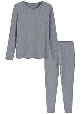 Latuza Women's Cotton Long Johns Fleece Lined Thermal Underwear M Heather Gray