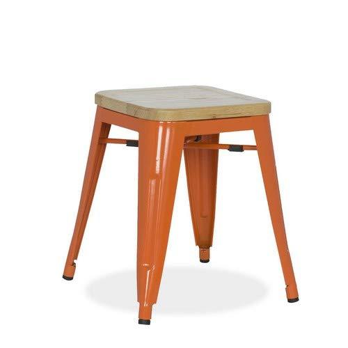lo+demoda Ural Color Edition Taburete, Madera, Naranja, 52.5x47x77.5 cm, 2 Unidades