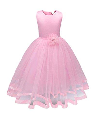 Mädchen Kleid,Honestyi Mädchen Kleider High-End-Kleid einfarbig Blumen Lange Prinzessin Kleid Blumenmädchen Prinzessin Kleid Festzug Tüll Kleid Party Brautkleid (Rosa, 6T/140CM)