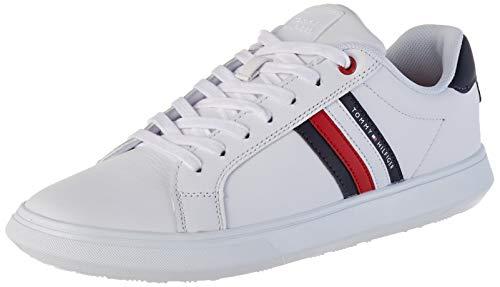 Tommy Hilfiger Herren Essential Leather Cupsole Sneaker, Weiß (White Ybs), 44 EU