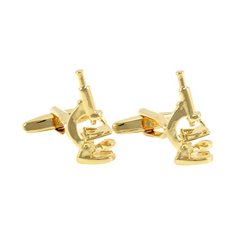 MENDEPOT Gold Tone Microscope Cufflinks with Gift Box