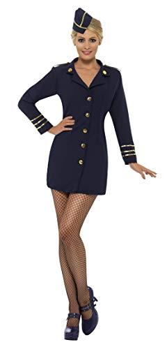Luxuspiraten - Damen Frauen Flugbegleiterin Stewardessen Kostüm mit Kleid und Mütze, perfekt für Karneval, Fasching und Fastnacht, M, Blau