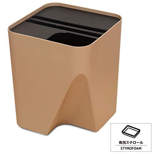ゴミ箱 分別 15L 分別シール付き ダストボックス 重ねる (ブラウン, シール: 発泡スチロール)