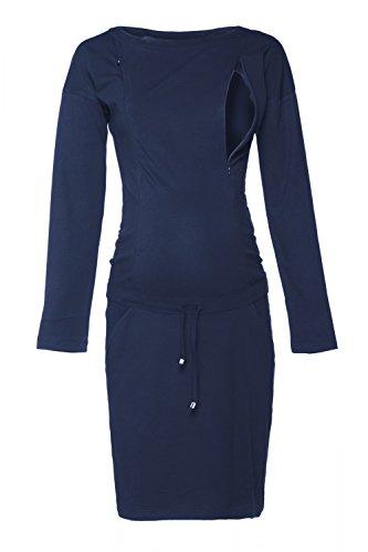 HAPPY MAMA. Damen 2in1 Umstands Still Sweatshirt-Kleid Lange Ärmel Taschen. 709p (Marine, 46, 2XL)