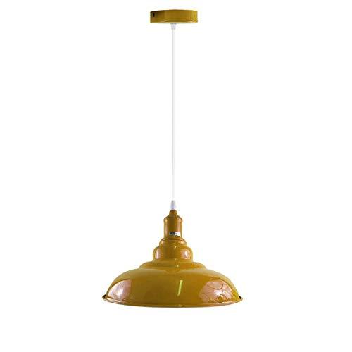 Lámpara de techo de metal estilo vintage industrial, estilo retro, ajustable, color amarillo
