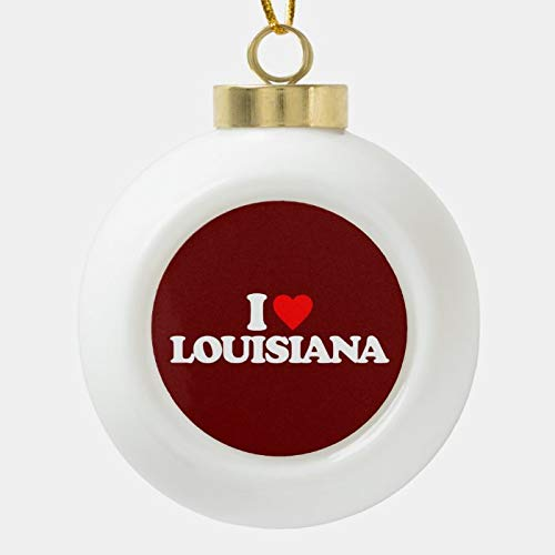 Dom576son Christmas Ball Ornaments, I LOVE LOUISIANA CERAMIC BALL CHRISTMAS ORNAMENT, Shatterproof Christmas Decorations Tree Balls for Holiday Wedding Party Decoration